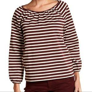 New JCREW Peasant Striped Cotton Top